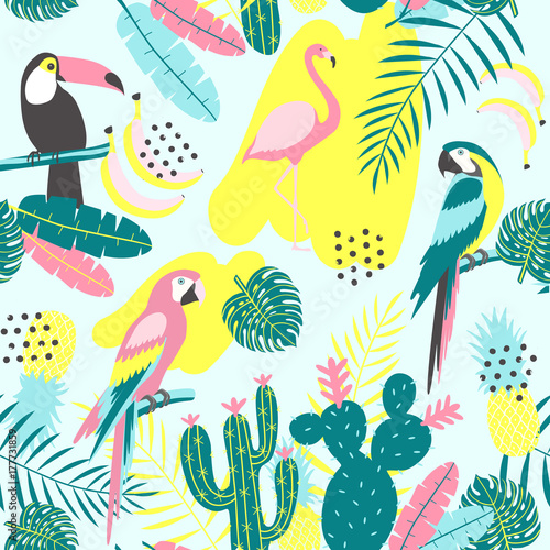 Tropical seamless pattern with toucan, flamingos, parrot, cactuses and exotic leaves.  Vector illustration