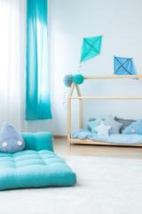 Blue mattress in boy's bedroom