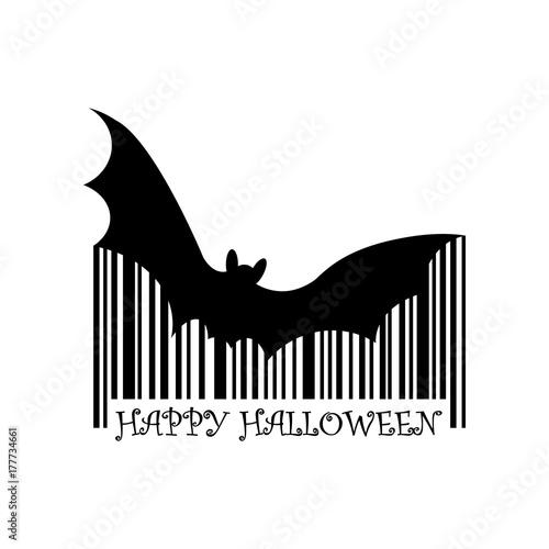 Codigo de barras Happy Halloween murcielago negro en fondo blanco