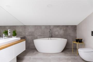 Oval bathtub against grey glaze