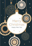 Christmas greeting card. Golden Christmas balls on a dark blue background. New Year's design template with a window for text. Vector flat. Vertical format - 177737459