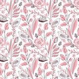 Seamless pink color floral vector pattern - 177738018