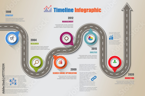 Business road map timeline infographic icons designed for abstract background template milestone element modern diagram process technology digital marketing data presentation chart Vector illustration - 177738204