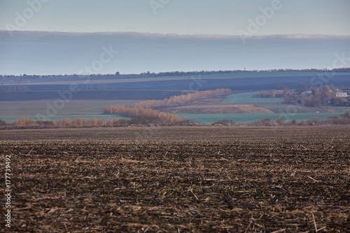 Aluminium Chocoladebruin arable land in the autumn. black earth