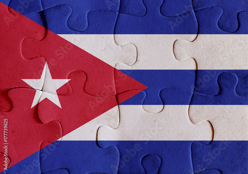 Cuba flag puzzle Poster