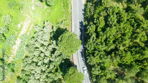 Poster Lime groen Road on the hill, aerial view