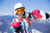 girl on alpine skiing - 177745494