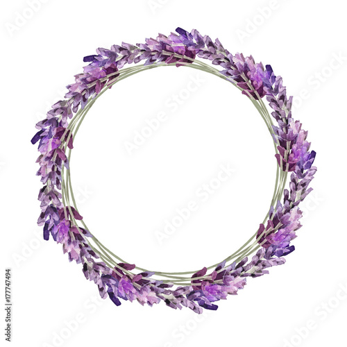 Watercolor lavender wreath. Can be used as romantic background for web pages, wedding invitations, greeting cards, postcards, patterns, prints, textile design, package design. - 177747494
