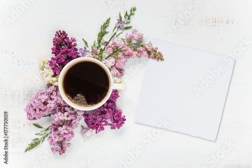 Coffee, different lilac flowers and white paper card Plakat