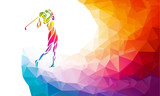 Fototapety Silhouette of woman golf player. Vector eps10
