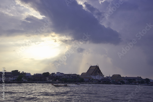 Chao Phraya river, sunset Canvas