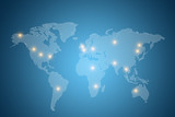 World map with lights on different countries with blue background