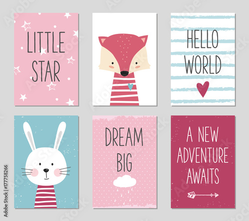 Birthday cards with cartoon fox and bunny for baby girl and kids. Can be used for baby shower, birthday, party invitation.
