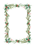 Watercolor vector Christmas frame with fir branches and place for text. - 177761653