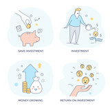 Investment and make money concept icons, line flat design - 177763608