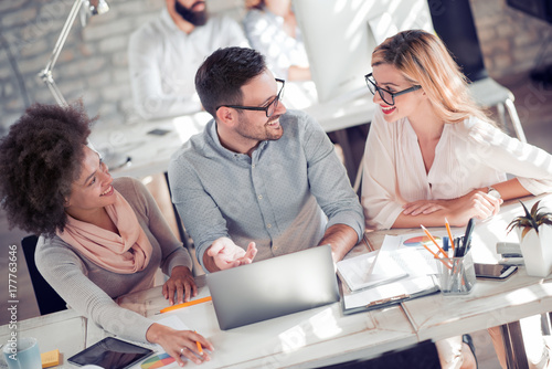 Group of business people in meeting at office. Poster
