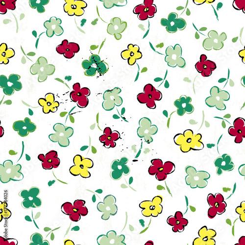 Fotobehang Abstract met Penseelstreken neat seamless flower pattern, vector background,springtime