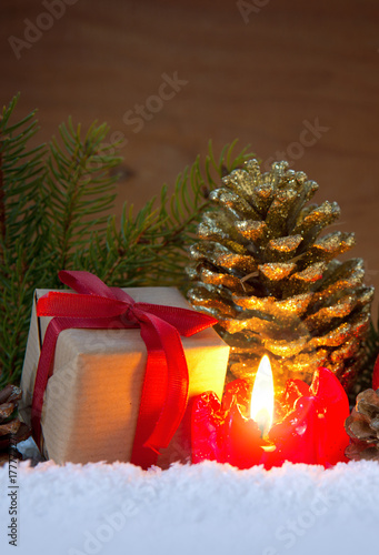 Advent candle and decoration. - 177772271