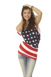 Beautiful woman in American flag t-shirt - 177778478