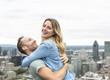 Happy couple enjoy Montreal landscape
