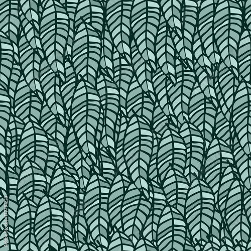 Leaves repeat pattern green colour vector background. All over foliage outlines black graphic green leaf small elements hand drawn illustration. - 177791223