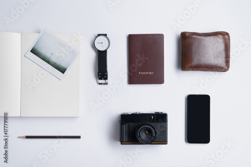 Flat lay of memories concept and accessories