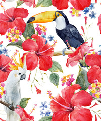 Watercolor tropical floral vector pattern