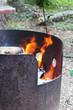 A fire burning in a metal fire ring
