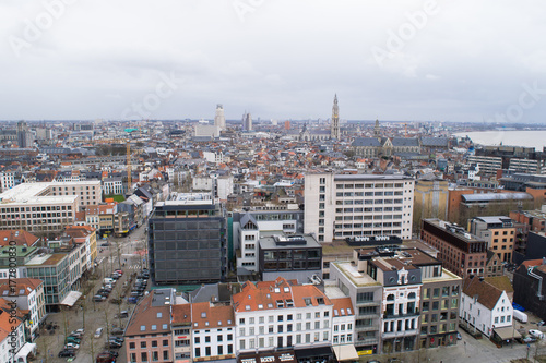 Fotobehang Antwerpen Panoramic view across the skyline of Antwerp from the MAS observation deck, Flanders, Belgium