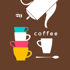 Coffee cups, a spoon, beans and a coffeepot. Vector illustration is cropped with a mask.