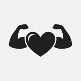Strong health icon, heart with muscle arms - 177802211