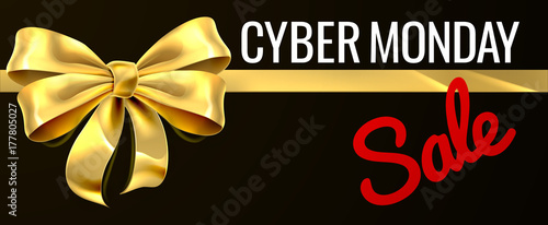 Cyber Monday Sale Gold Gift Bow Ribbon Design