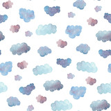 Seamless pattern of soft blue clouds painted in watercolor.