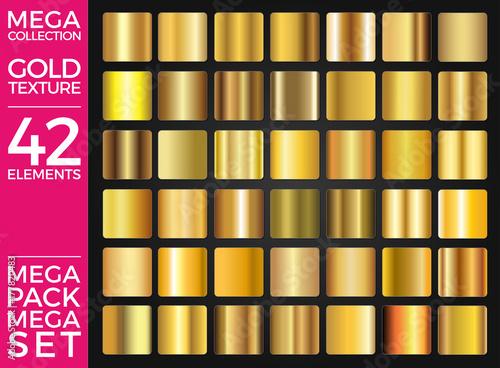 Wektorowy Ustawiający Złociści gradienty, Złota kwadrat kolekcja, tekstury Grupują Eps 10