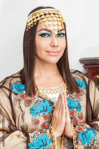 Woman dressed as Cleopatra for Halloween Poster