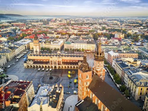 Beautiful historic market square at sunrise, Krakow, Poland