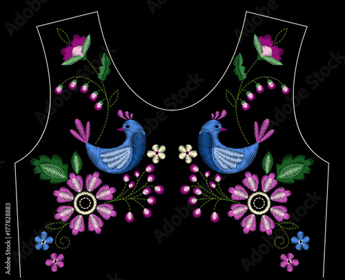 Keuken foto achterwand Vlinders in Grunge Vector design for collar t-shirts and blouses. Colorful ethnic flowers neck line. Embroidery for Fashion. Vector illustration.