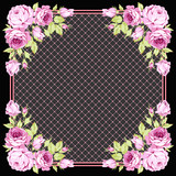 Greeting card with pink roses on a dark background - 177833807