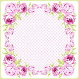 Floral round Greeting card with littlel pink roses - 177833820