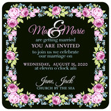 Wedding invitation with pink roses and small blue flowers on a dark background - 177833830
