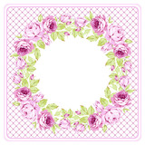 Floral round Greeting card with pink roses - 177833850