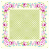 Floral Greeting card with pink roses and blue small flowers - 177833851