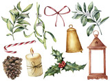 Watercolor Christmas decor with plant and berries. Hand painted eucalyptus, snowberry, bell, red bow, candle, mistletoe, lantern and holly isolated on white background. Holiday clip art for design.  - 177836886