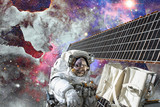 Astronaut in outer space. Spacewalk. Elements of this image furnished by NASA - 177838868
