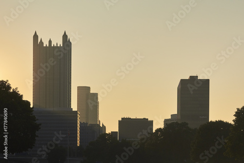 Downtown Pittsburgh, Pennsylvania at sunrise Poster
