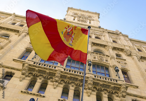 Fotobehang Madrid The controversial push for independence by Catalonia has increased demand for Spanish flags as many buildings in Madrid now display them in a show of nationalism in the European country