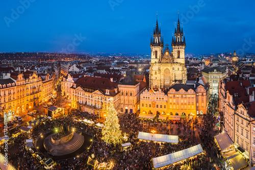Poster Praag Christmas market in Prague, Czech Republic