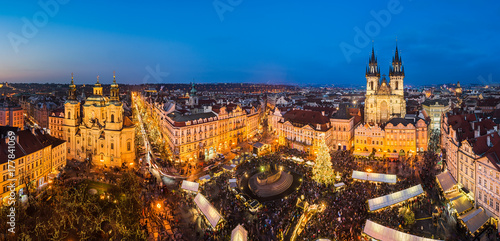 Christmas market in Prague, Czech Republic Poster