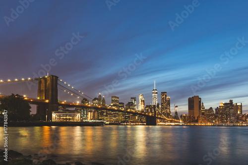 New York, Brooklyn bridge and downtown Manhattan Poster