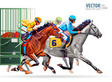 Three Racing Horses Competing  Each Other  Motion Blur To Accent Speed Start Gates For Horse Races The Traditional Prize Derby  Illustration Wall Sticker